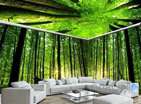 forest room 3d animals green forest tree top entire living room wallpaper wall mural dec ebay