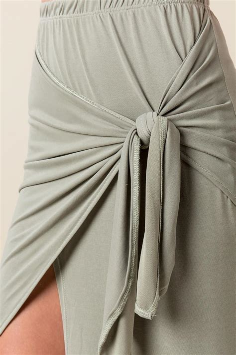 gray solana knotted maxi skirt s