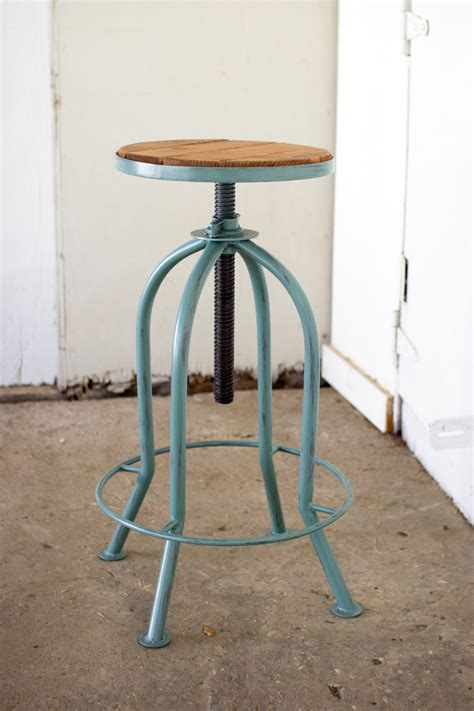 adjustable industrial blue finish bar stool  recycled wood