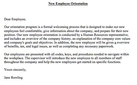 themes for new hire orientation new employee orientation letter business english themes