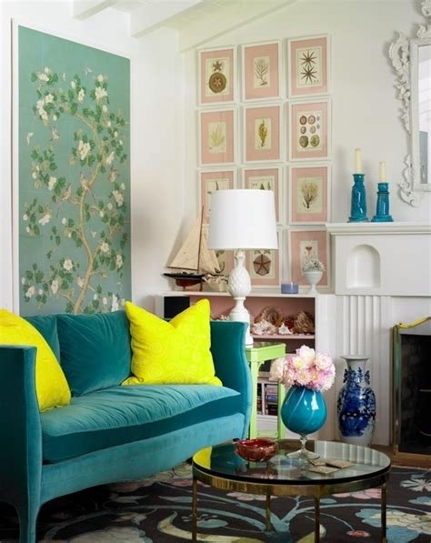 bright dash of wall color in an eclectic living room chinoiserie coffee table design ideas