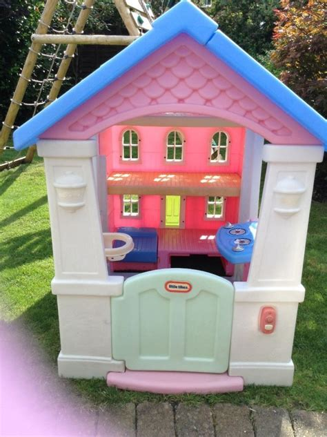 tikes playhouse pink with blue roof tikes playhouse dolls house s pink with blue
