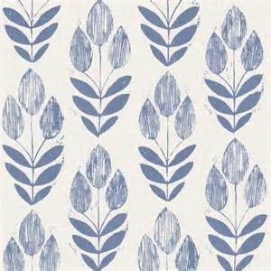 Block Print Wallpaper scandinavian blue block print tulip wallpaper bolt