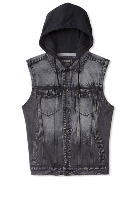 Hooded Denim Vest lyst forever 21 hooded denim vest in gray for