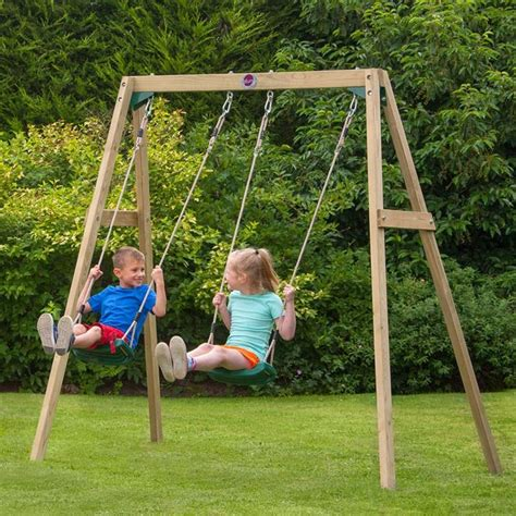 double wooden swing plum double wooden swing with free protectamats pack of 2