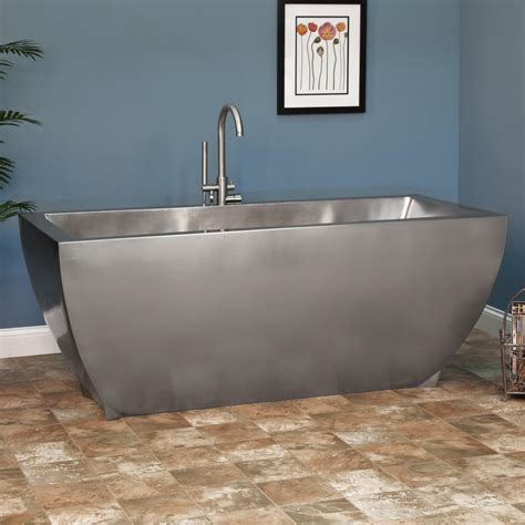 steel bathtubs signature hardware 72 quot fabian brushed stainless steel