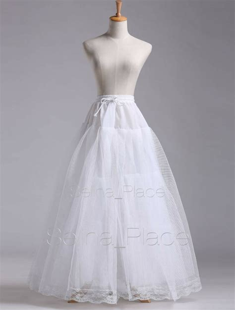 White A Line Hoopless Wedding Dress Bridal Gown Crinoline