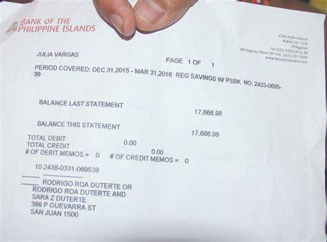 bank certification letter bpi rodrigo duterte s 386 p guevarra property