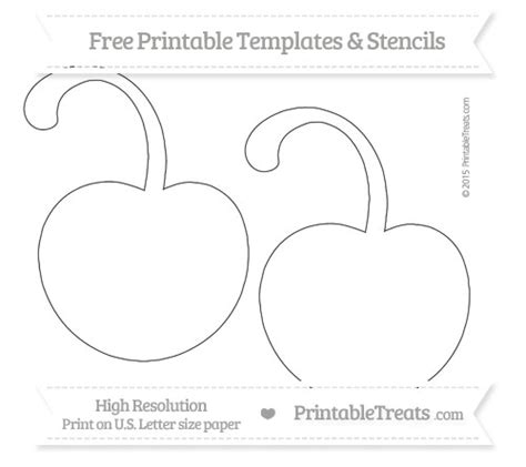 free printable large cherry with curled stem template