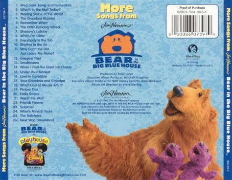 bear in the big blue house music more songs from bear in the big blue house disney songs reviews credits allmusic