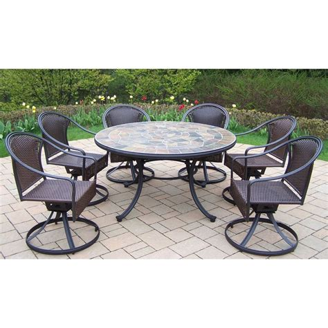 Shop Oakland Living Stone Art 7 Piece Stone Patio Dining Patio 7 Dining Set