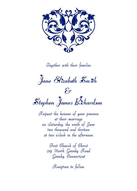 heart filigree invitation navy wedding invitation
