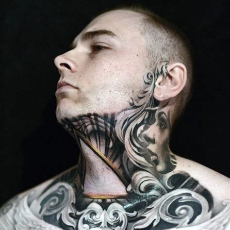jawline tattoo 80 throat tattoos for cool masculine design ideas