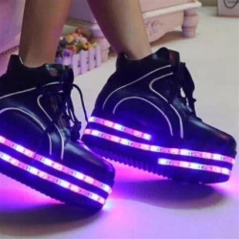 purple light up shoes shoes black black shoes purple platform shoes light