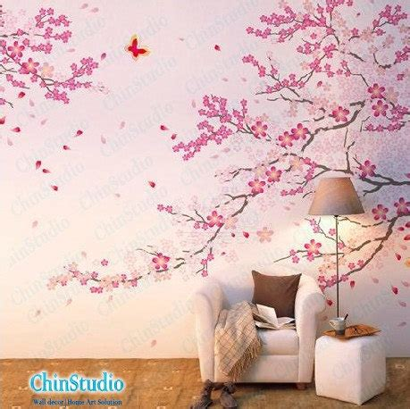 Pink Tree Flowers Jm7074 Stiker Dinding Wall Sticker cherry blossom tree wall decals with butterfly wall by chinstudio