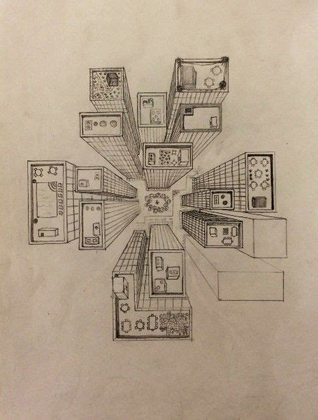 City Lights Eye Pencil bird s eye view drawing city perspective perspective