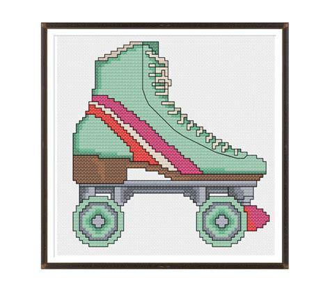 pattern for roller skate items similar to retro roller skate cross stitch pattern