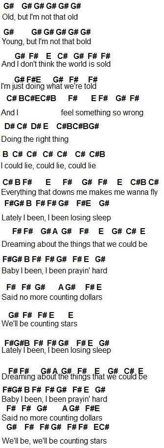 printable lyrics counting stars flute sheet music counting stars