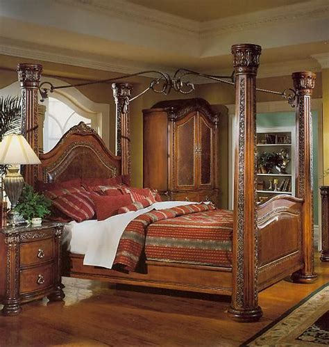 wyatt bedroom set wood and metal four post bed brown wood and wrought iron headboards brown cherry post bed