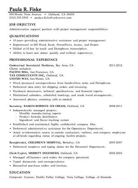 Resume Skills Of A Manager Resume Sle Administrative Support Project Management
