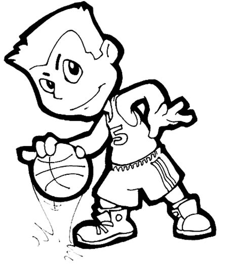 Free Coloring Pages Of Basketball Cartoon Player Basketball Coloring Pages