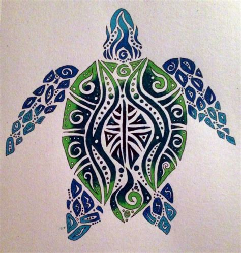 sea turtle tribal tattoo i really like the colors and but would want a