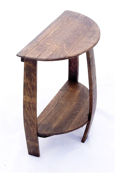 stave end table wine barrel half end table