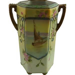 vintage painted nippon porcelain cabinet vase from