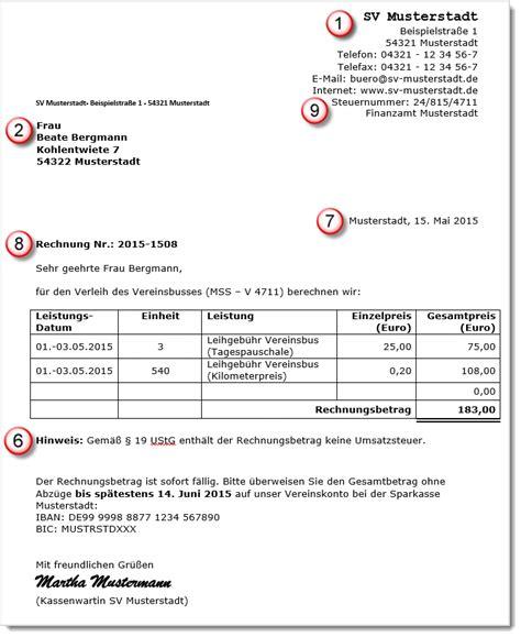 Rechnung Privatperson Ohne Umsatzsteuer beispiel 2 vereinsrechnung ohne umsatzsteuer zuk 252 nftige