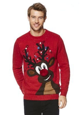 f f light up reindeer christmas jumper men s