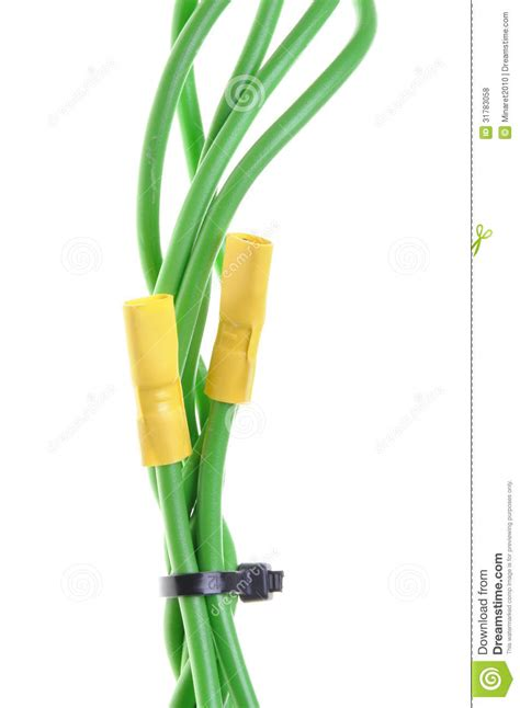 green electric wires with terminals royalty free stock