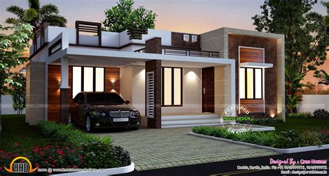 flat roof luxury home design kerala floor plans building designs homes design single story flat roof house plans