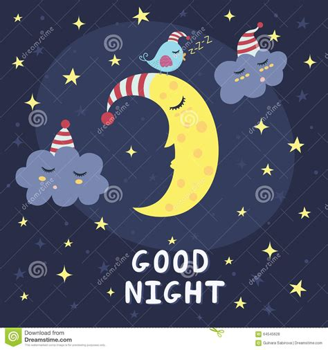 imagenes chistosas good night good night vector card with the cute sleeping moon clouds