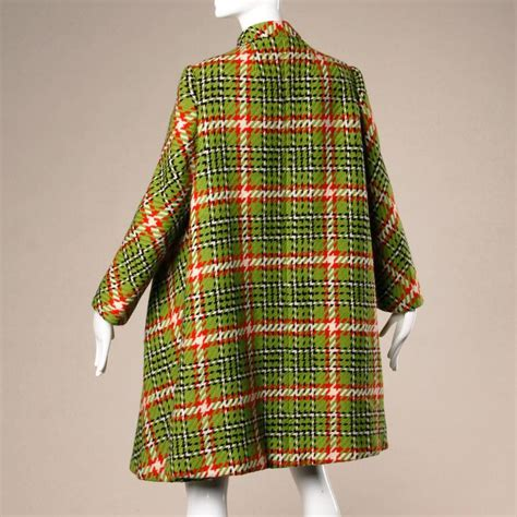 plaid swing coat 1960s donald brooks vintage green red wool plaid swing