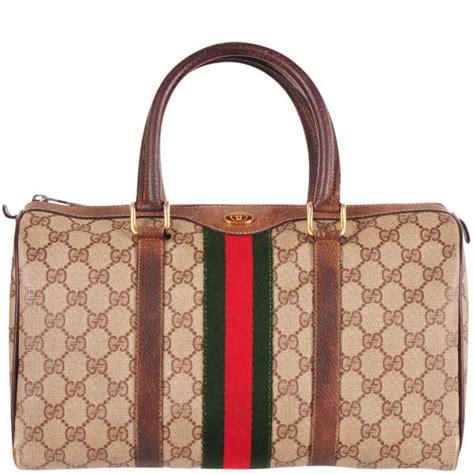 gucci vintage leather trim monogram canvas grab bag