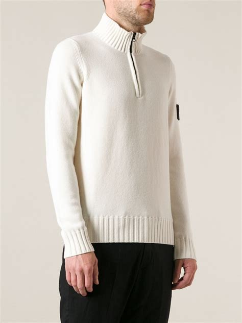 High Neck Sweter N island zipped high neck sweater in white for lyst