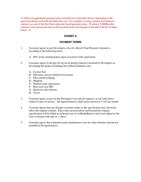 payment terms agreement template contract payment contract template payment contract template