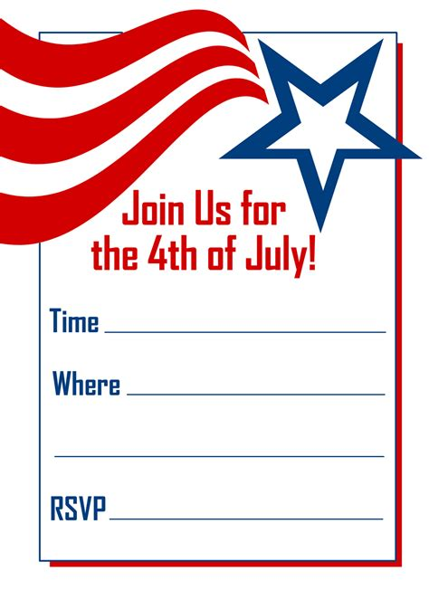 4th of july templates free printable invitations white and blue 4th