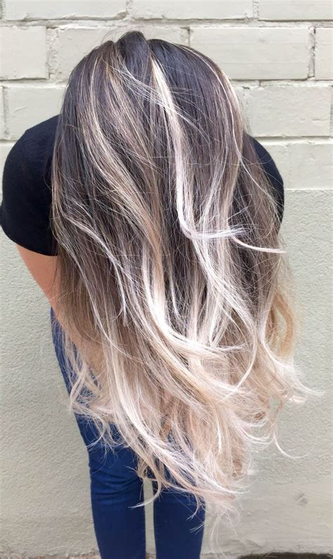 platinum blonde ombre hair ash brown balayage ombre nail art styling