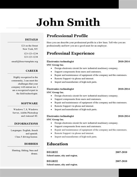 Simple One Page Resume Template 1 Page Resume Sle Best Resume Collection