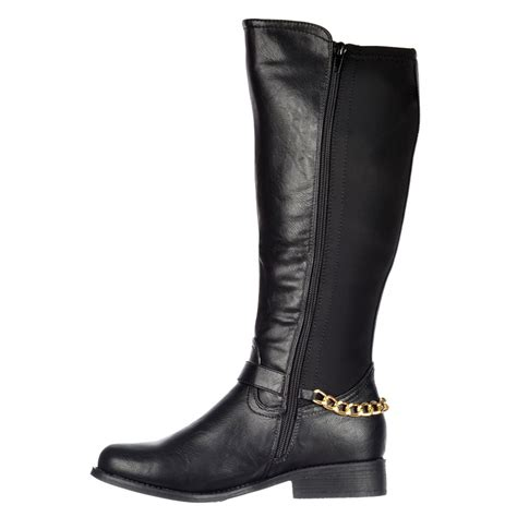 shoekandi knee high wide calf flat boot