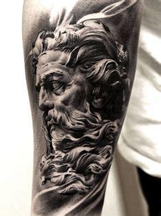 zeus tattoo flash greek god with lion head realistic mens leg tattoo sleeve