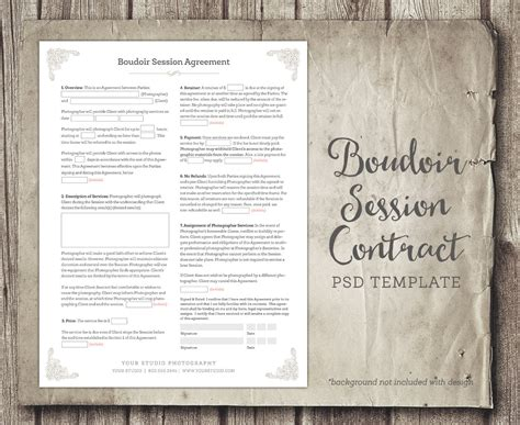 newborn photography contract template boudoir session client agreement form template business
