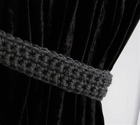 Dark Gray Grey Curtain Tie Backs Crochet Tiebacks