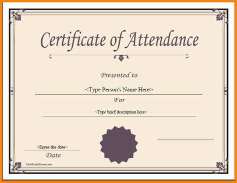 certificate of attendance template word 7 certificate of attendance templates catering resume