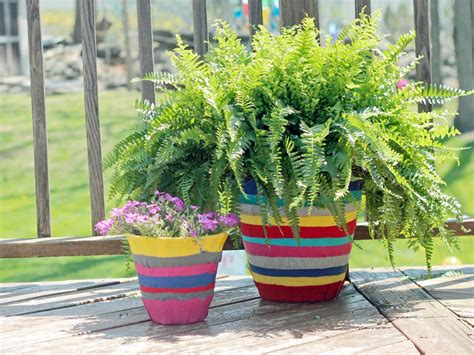 Colorful Outdoor Planters How To Decorate A Flower Pot With Fabric Hgtv