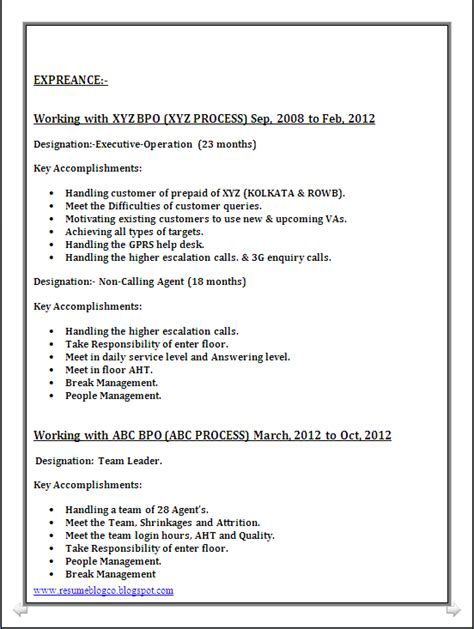 Resume Format For Bpo by Resume Co Bpo Call Centre Resume Sle In Word