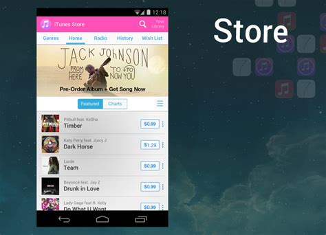 itunes store for android amazing itunes for android app concept images