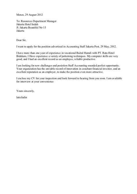 contoh surat lamaran kerja tentang chef on board dalam bahasa inggris