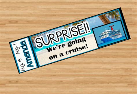 printable cruise tickets printable surprise cruise ticket with custom name dates